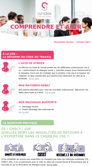 Les newsletters Syndex
