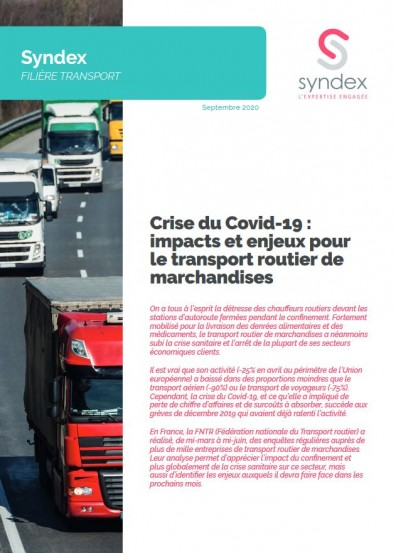 Crise du Covid-19 : impacts et enjeux pour le transport routier de marchandises - Septembre 2020